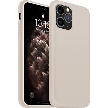OUXUL iPhone 11 Pro Max Case, Slim Liquid Silicone Case Compatible with iPhone 11 Pro Max 6.5 Inch, Full Body Microfiber Lining Protective Case (Stone)