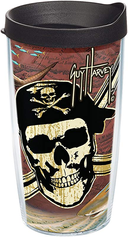 Tervis 1252068 Guy Harvey Under Sea Pirate Tumbler With Wrap And Black Lid 16oz Clear