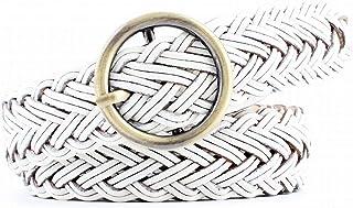 Kainuoo 女性のためのパンツジーンズドレスベルトラウンドバックル付き (Color : White)