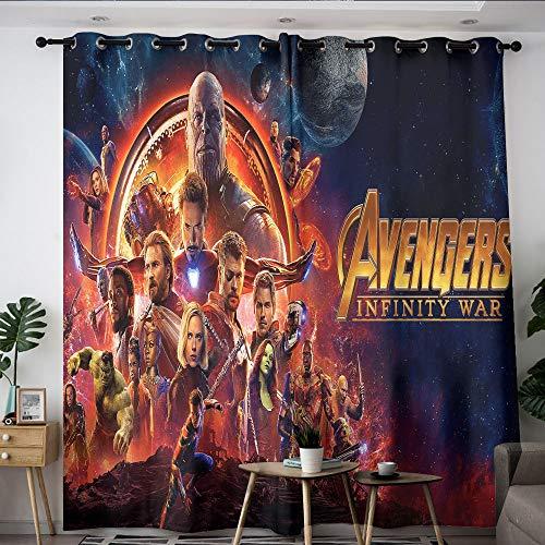 Elliot Dorothy Superhero Vengadores Iron Man Capitán América Cortinas de reducción de ruido para sala de estar Aislamiento térmico Cortina opaca para decoración de aislamiento térmico W55 x L45