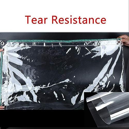HRFHLHY Tissu Anti-Pluie Transparent, Bord épaissi perforé Tissu en Plastique imperméable Transparent Anti-Pluie, Couvercle de Prougeection de Fleur de Balcon de fenêtre,1.4x4.5m