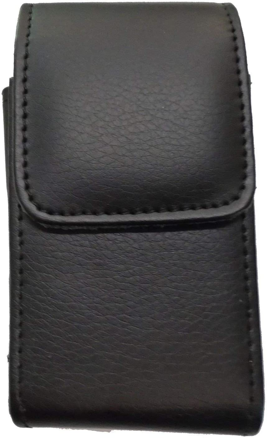 Vertical Black Leather Case with Magnetic Closure and Belt Loops fits Tracfone LG Classic L125DL Flip Phone
