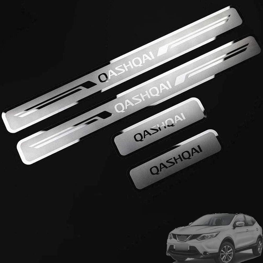 4Pcs Coche Exterior Protector Decoración Estribos, para Nissan Qashqai J10 J11 Kick Plates Door Sill Scuff, Acero Inoxidable Antideslizante ...