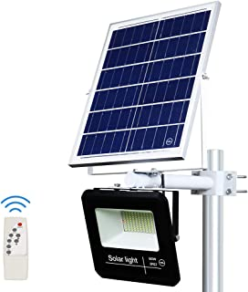 YQL 60W Outdoor LED Solar Street Security Flood Light IP67 Waterproof White 6500K 100 LEDs Auto On/Off Dusk to Dawn with Remote and Multi-Functional Bracket for Exterior Roads Yard Garden Pathway