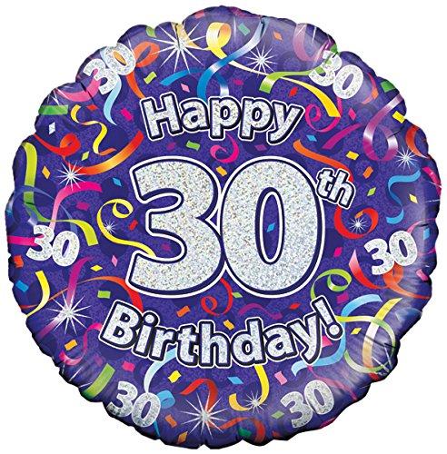 Oaktree UK 18 30 verjaardag slingers holografische folie design ballonnen, meerkleurig