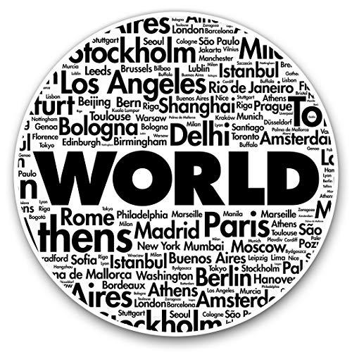 Impresionantes pegatinas de vinilo (juego de 2) 7,5 cm – Divertidas calcomanías de geografía de ciudades famosas del mundo para portátiles, tabletas, equipaje, libros de chatarra, frigorífico, regalo genial #14470