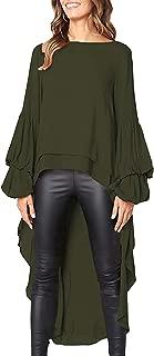 Women's Double Layered High Low Asymmetrical Tunic Top Blouse