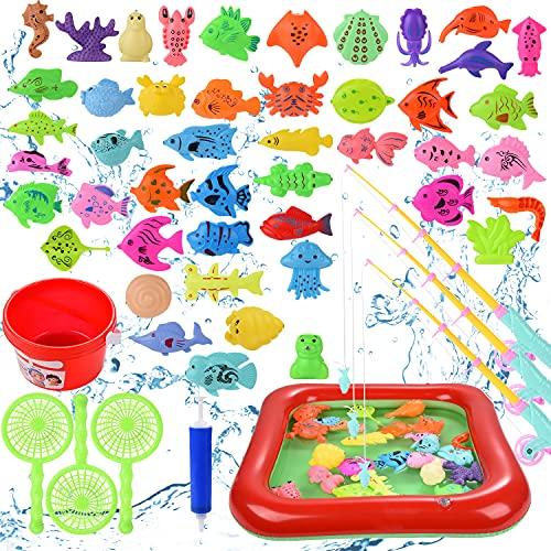 colmanda 56 Stück Angeln Spielzeug, Bade Spielzeug mit Aufblasbarer Fischteich und Faltbare Angelrute, Kinder Badewannenspielzeug, Wasserspiel Perfekt Lernspiel Geschenk für Kinder (rot)