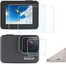 Deyard Protector de Pantalla para GoPro Hero 7 Blanco GoPro Hero 7 Silver, Protector de Pantalla de Cristal Templado Ultra Claro + Accesorios para Protector de Lentes