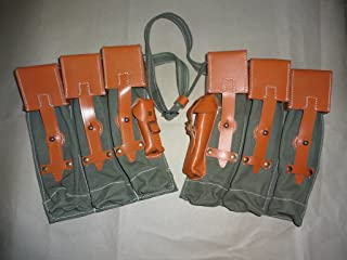 warreplica German WWII MP 44 Magazine Web and Leather Pouch Set - Reproduction