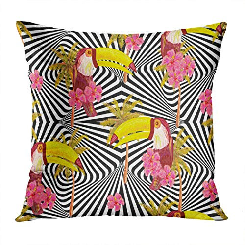 Vooft Toucan Throw Pillow Cover Home Sofa Live Room Car Hidden Zipper Decor Square 18 X 18 Inch Seamless Jungle Pattern Exotic Bird Decorative Cushion Furniture Durable Waterproof Holiday Pillowcase