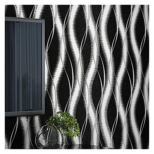 QXYOGO Tapeten Teal Blau, Schwarz Weiß Glänzend Moderne 3D-geprägte Streifen Tapete Curved Relief Nicht gesponnene Waving Design-Wand-Papier 1 (Color : WP689BK, Dimensions : 10mX53cm)
