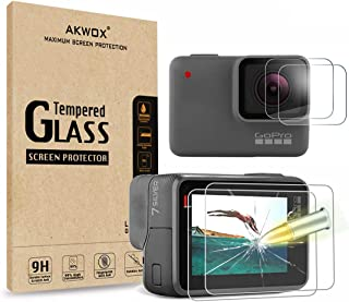 [4 Pack] Akwox Screen Protector for GoPro Hero 7 White/GoPro Hero 7 Silver, Upgraded Tempered Glass Screen Protector Film+...