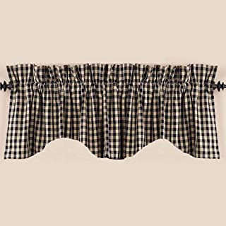 Home Collection by Raghu, Black/Nutmeg Heritage House Check Scalloped Valance, 72 by 18-Inch