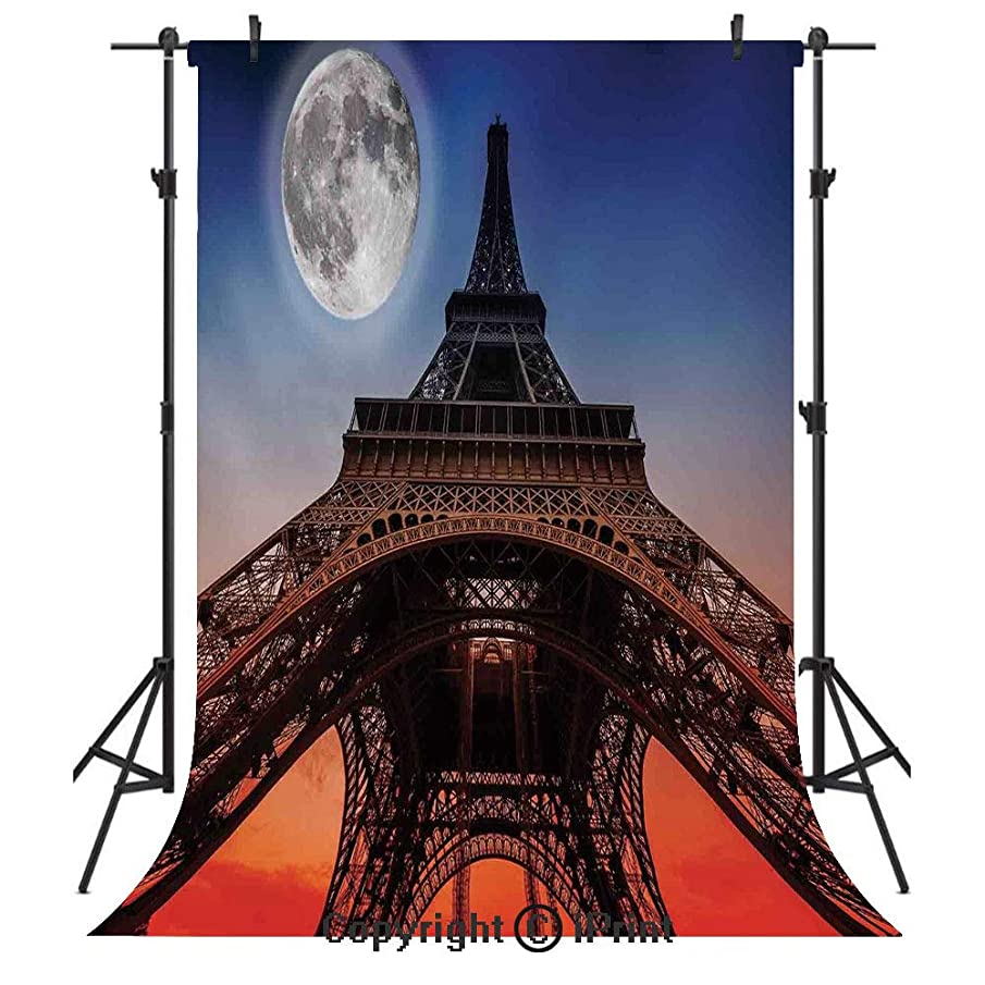 Eiffel Tower Decor Photography Backdrops,Full Moon Night Sky Dusk Digital Style Minimal French Flag Eiffel Tower Digital Art,Birthday Party Seamless Photo Studio Booth Background Banner 5x7ft,Navy Red