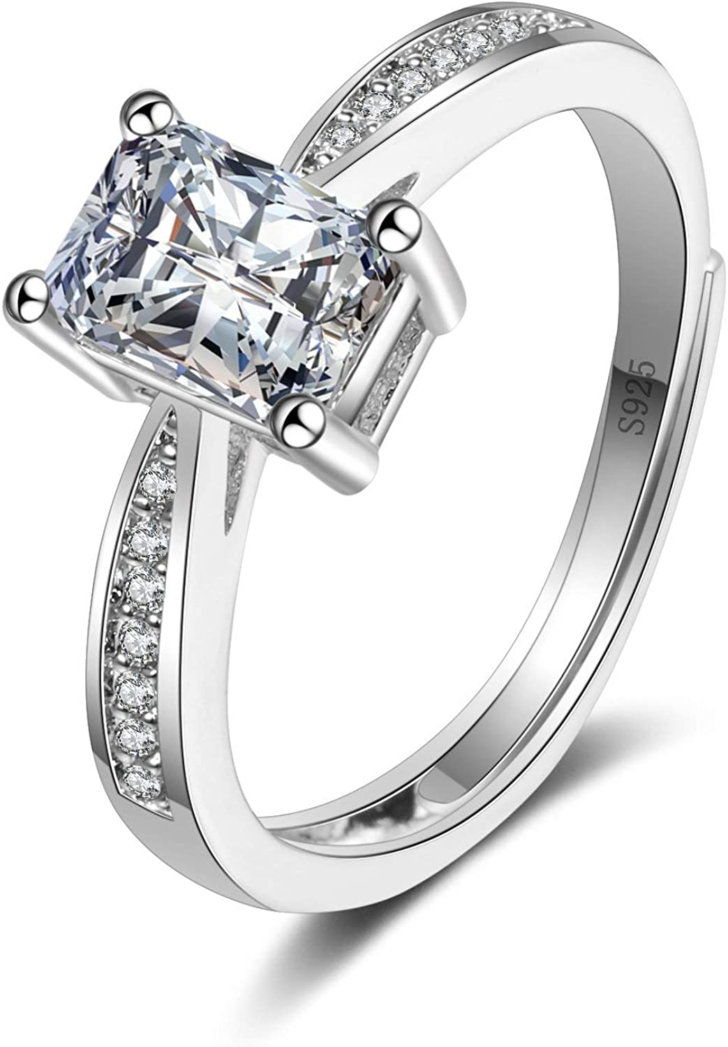 T Brand AAA+ Cubic Zirconia Adjustable Wedding Band Engagement Rings for Women Gifts for Valentines Day