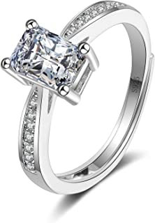 Splendente Fashion Ring Imitation Jewelry Artificial Diamond- with Rectangle Side Stones Adjustable Ring for Men Women Boy...