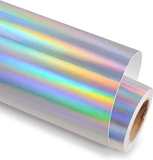 Holographic Glossy Rainbow Silver Adhesive Craft Vinyl 12 Inch X 6 Feet,Silver Vinyl