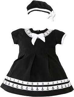 980275e23491 TC Baby Girls Navy Sailor Nautical 2pc Black Anchor Dress with Beret