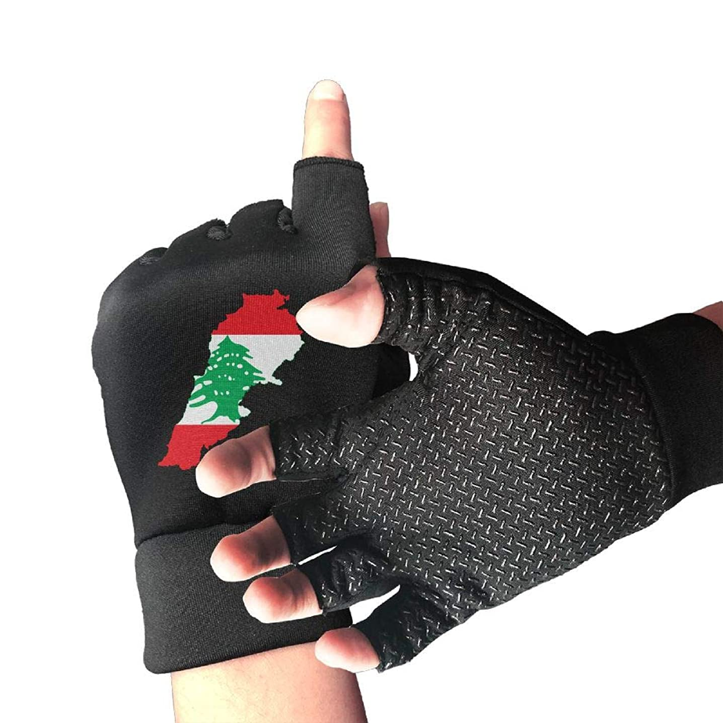 Hunting Slip-Proof Flag Map of Lebanon 1/2 Finger Short Gloves Outdoor Sports Working Gloves