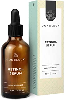 Junglück Vegan Retinol Serum High Strength – 50ml - In Recyclable Packaging – Anti Aging Skin Care Retinol Treatment – With Vitamin A and Organic Aloe Vera – Made In Germany With Natural Ingredients