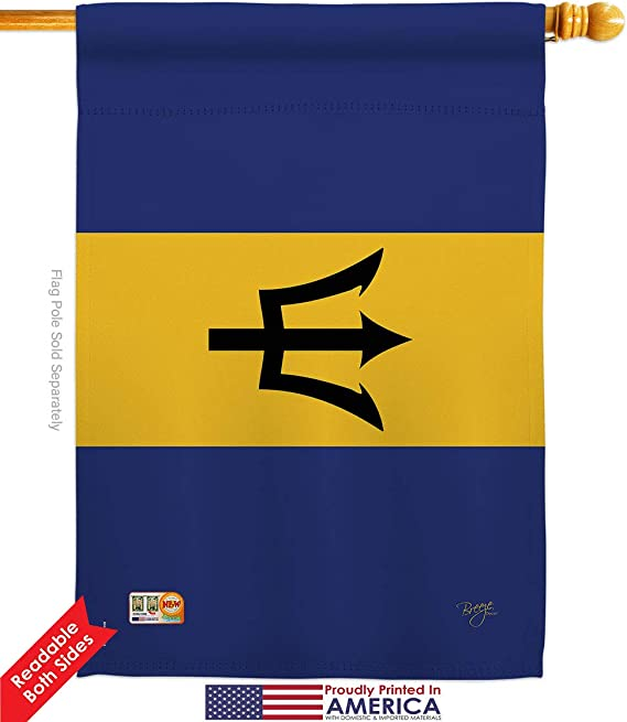 """12x18 12/""""x18/"""" Barbados Sleeved w// Garden Stand Flag"""