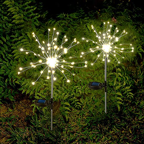2 x Solar Feuerwerk Licht - 120LED Solarleuchte Garten,Wasserdicht Solar Gartenstecker Licht Solarleuchten DIY Garten Deko für Garten, Rasen,Deck,Feld,Terrasse,Feld (Warmweiß) [Energieklasse A+++]