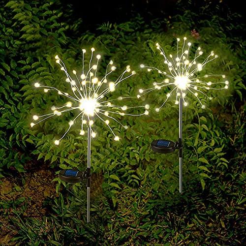 2 x Luz Solar Exterior Jardin Decoracion Fuegos Artificiales 150 LED Luz Colorido de Cadena Solar,resistentes al agua luz solar para jardín, decoración para jardín, césped(blanco caliente)