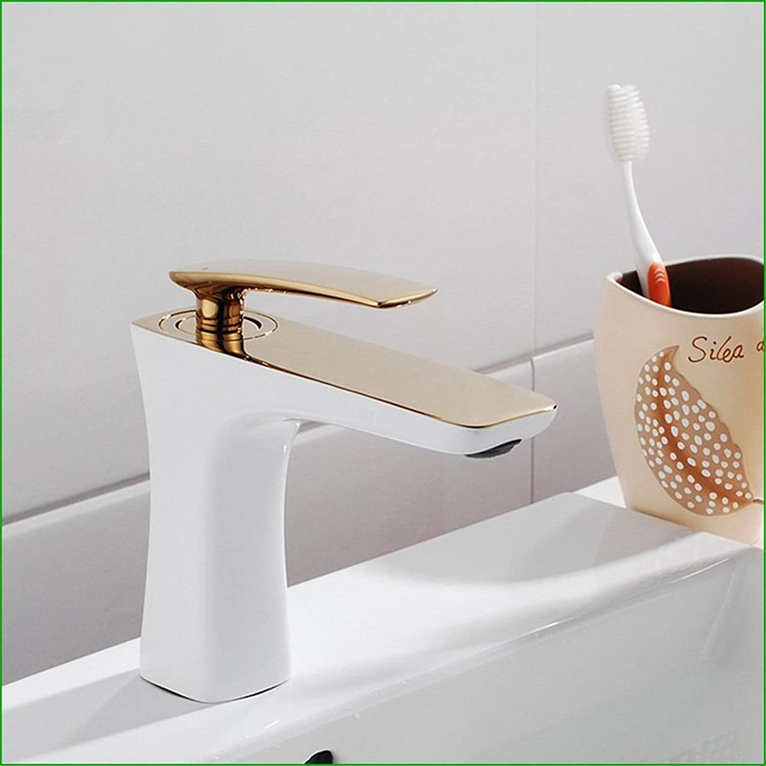 Bijjaladeva Antique Bathroom Sink Vessel Faucet Basin Mixer Tap The gold grill white paint bathroom Washbasin Faucet roasted white paint full copper hot and cold-water faucet white