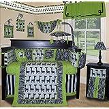 SISI Baby Boy Boutique - Lime Zebra 13 Pc Baby Bedding Nursery Crib Set by Sisi