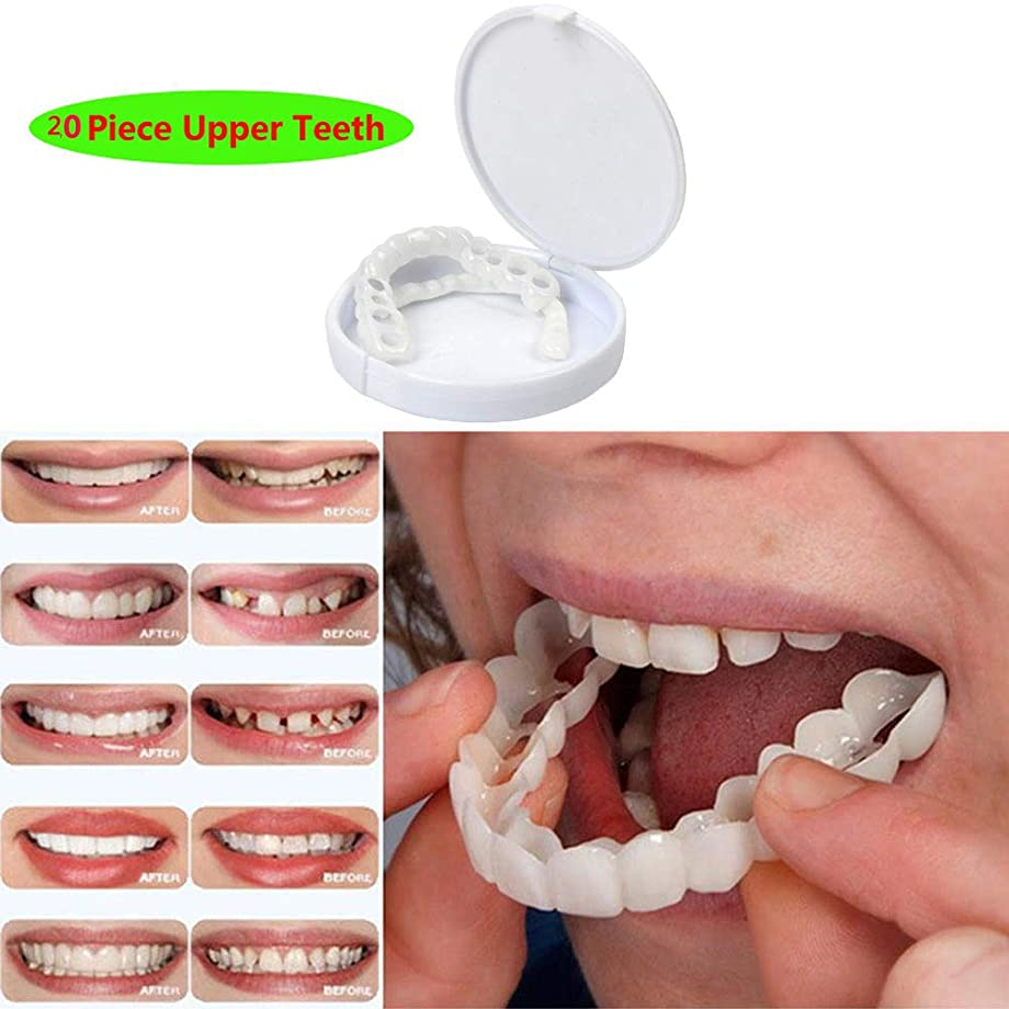 介入する中国トリプル一時的な化粧品の歯義歯の歯快適な屈曲を完全に白くする化粧品の模倣された上部の支柱わずかな分のベニヤ、20PCS上部の歯