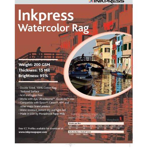 Inkpress LT111725 Fine Art Watercolor Rag 200 11in. X 17in. 25 Sheets