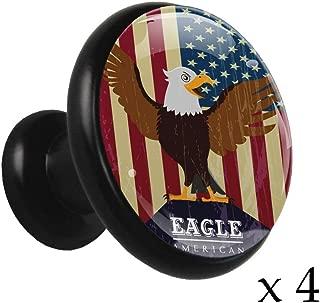 Drawer knobs Bald Eagle with American Flag Black Drawer Knobs Round Metal Crystal Glass 4 Pieces Cabinet Dresser Furniture Solid Brass knobs Mushroom Kitchen Home Improve décor Hardware knobs
