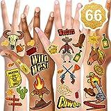 Qpout Western Cowboy Tatuaggi temporanei, Collezione Western Wild West Cartoon Impermeabile Tatuaggi finti Adesivi West Party Rodeo Party Birthday Cowboy Party Decor (6 fogli)