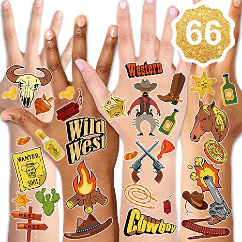 Qpout Western Cowboy Temporäre Tattoos Kindertattoos, Cartoon Western Wild Wasserdichte gefälschte Tattoos Aufkleber West Party Rodeo Party Kindergeburtstag Mitgebsel Cowboy Party Dekor