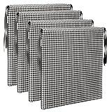 Brandsseller Sitzkissen Stuhlkissen kariert Kissen Sitzpolster - 40 x 40 cm (4er-Paket, grau)