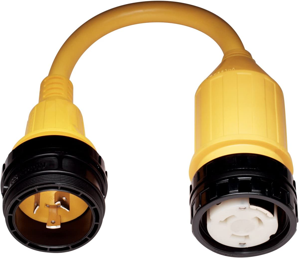 Xtreme Heaters Pigtail Electrical Power Adapter Cord 30 Amp Shore Male Plug to 15 Amp Connector with LED