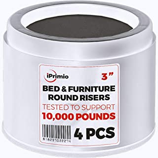iPrimio Bed and Furniture Risers – 4 Pack Round Elevator up to 3