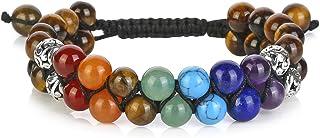 Top Plaza Bead Chakra Bracelet 7 Chakras Healing Crystals Bracelet Yoga Stone Beads Bracelets Meditation Relax Anxiety Ban...