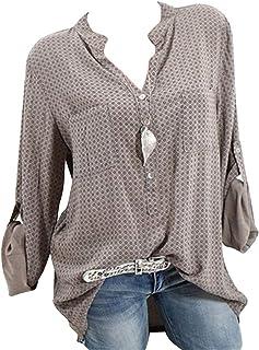 FRPE Womens Casual Polka Dot Print Long Sleeve V-Neck Summer Button Down Blouse Shirts