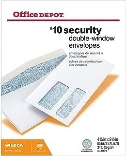Office Depot Double-Window Envelopes, 10 (4 1/8in. x 9 1/2in.), White, Gummed, Box of 500, 12018