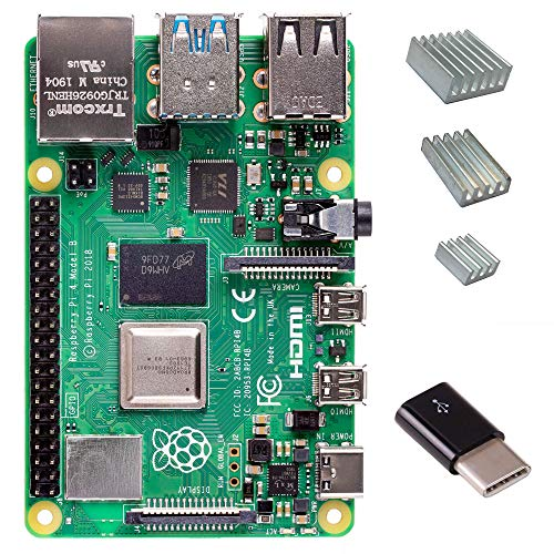Raspberry Pi 4 with CanaKit Heat Sinks and Micro USB to USB-C Converter (4GB RAM)