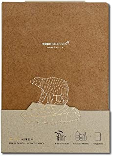 Truegrasses A5 Hardcover Notebook, Eco-Friendly, Flat Open, Cover : Straw + PP, Inside : Recycled Paper,cream (off-white), 70gsm, 160 Sheets, Grid