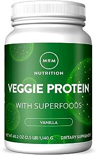 MRM - Veggie Protein Powder, Protein Source for Vegans, Gluten-Free & Preservative-Free, Non-GMO Verified - Vanilla - 2.5 lbs