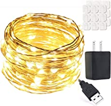 Mintlemon 100LED 33ft Fairy Lights USB Plug-in with UL Power Adapter Warm White Waterproof Silver Starry String Lights for Bedroom Garden Wedding Party Backdrop Canopy Tapestry Gazebo