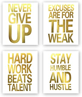 Sanrx Inspirational Quotes Never Give Up Gold Foil Print, Motivational Word Cardstock Art Painting Minimalist Lettering Home Wall Art Poster Decor (8 X 10 inch, Set of 4, Unframed)