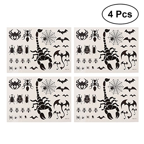 TOYMYTOY 4pcs Scorpion Bats Spider Tatuaggi temporanei Impermeabile Body Art Stickers Bomboniere per Ragazze dei Ragazzi