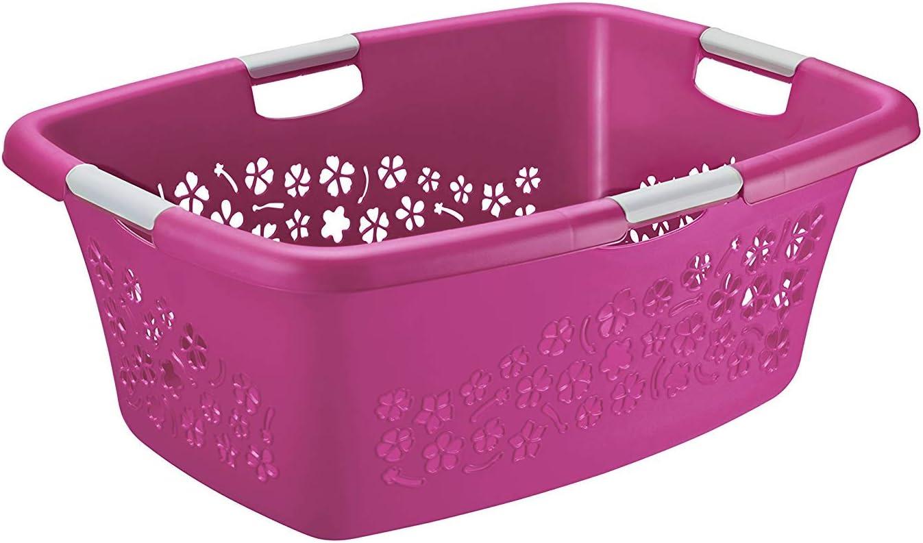 Rotho Flowers - Cesta de Lavandería 50 L con 4 Asas, Plástico (PP) sin BPA, Rosa/Blanco, 50 L (65.1 x 48.6 x 26.2 cm)
