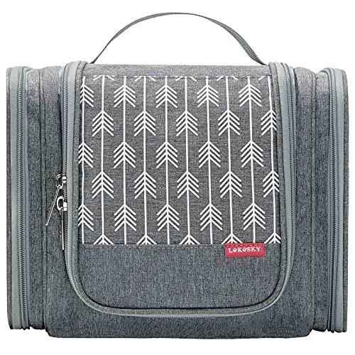 Lekesky Neceser de viaje impermeable con asa y gancho, bolsa de aseo grande para hombre y mujer, color gris