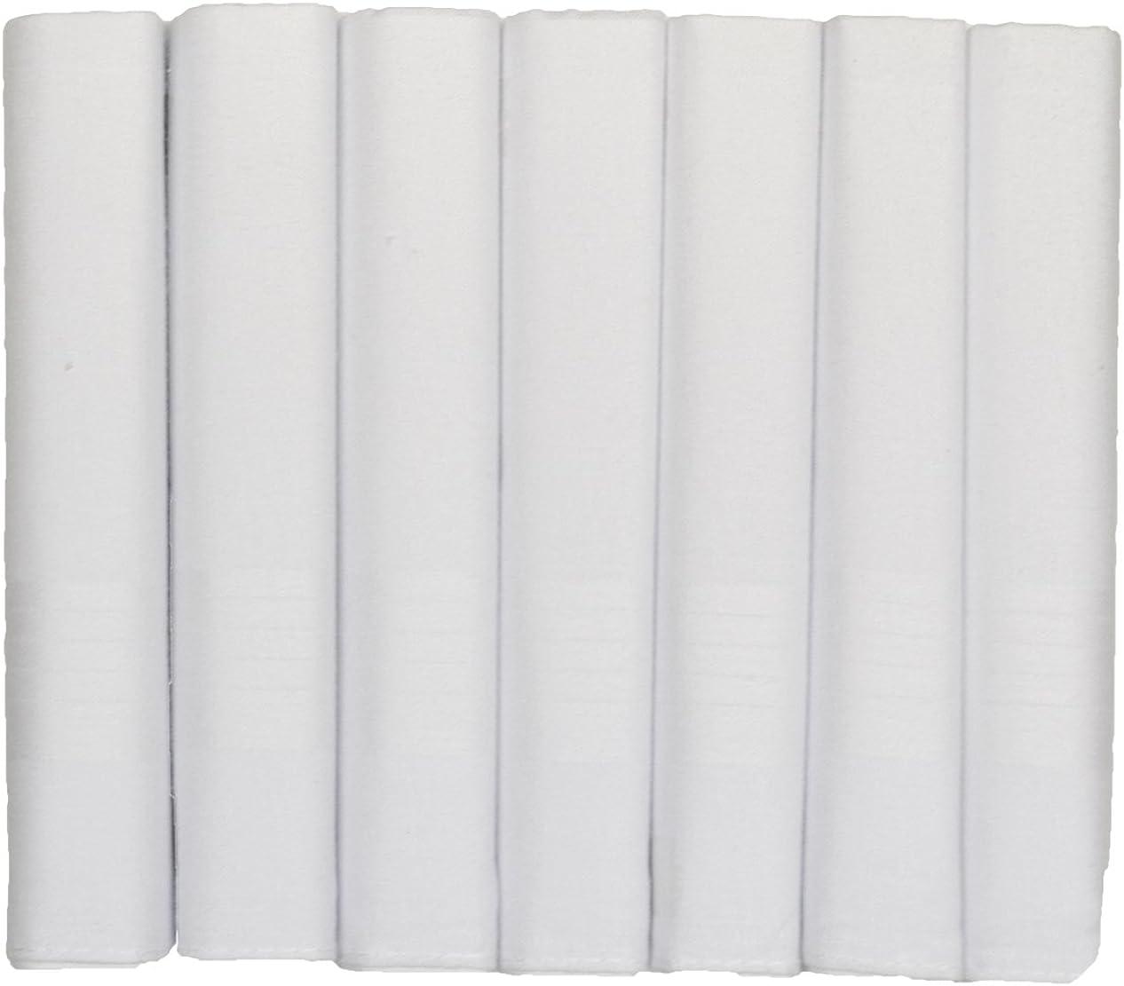 ETHO 7 Men's Boxed White Satin Handkerchiefs 100% Cotton